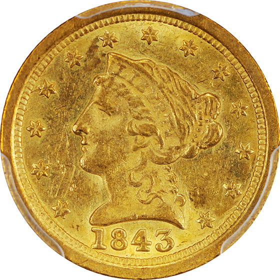 Picture of 1843-O LIBERTY HEAD $2.5, LARGE DATE MS62