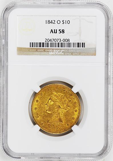 Picture of 1842-O LIBERTY HEAD $10 AU58