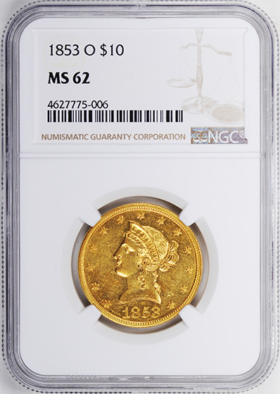 Picture of 1853-O LIBERTY HEAD $10 MS62