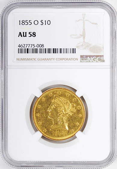 Picture of 1855-O LIBERTY HEAD $10 AU58