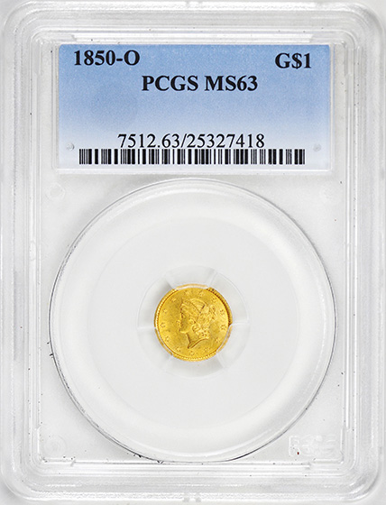 Picture of 1850-O GOLD G$1, TYPE 1 MS63