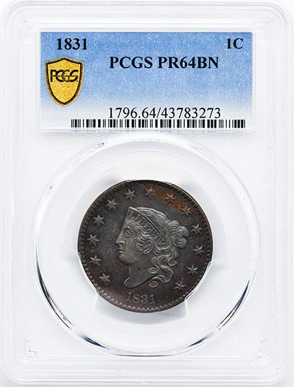 Picture of 1831 CORONET HEAD 1C PR64 Brown