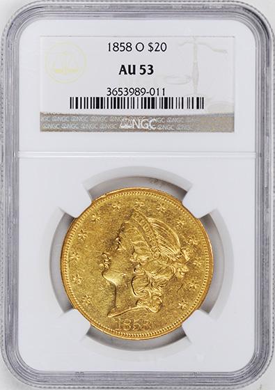 Picture of 1858-O LIBERTY HEAD $20 AU53