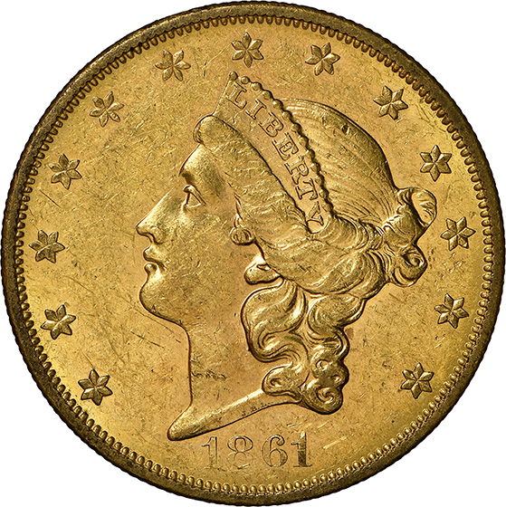 Picture of 1861-O LIBERTY HEAD $20 MS60