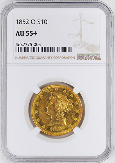 Picture of 1852-O LIBERTY HEAD $10 AU55+
