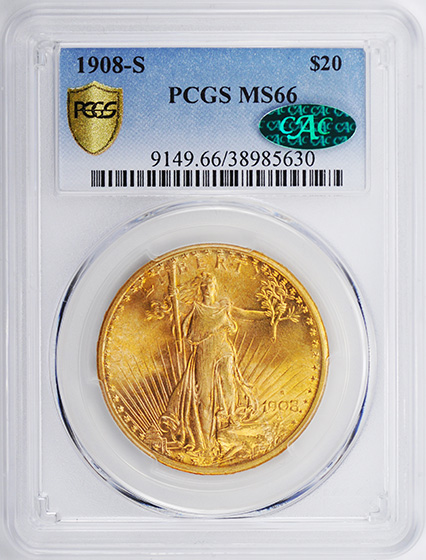 Picture of 1908-S ST. GAUDENS $20 MS66