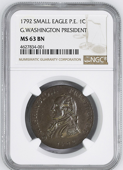 Picture of 1792 WASH GETZ, SM EAGLE CENT MS62 Brown