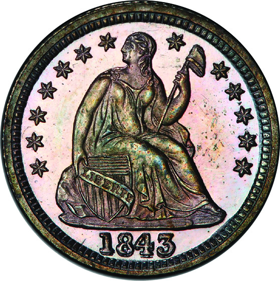 Picture of 1843 LIBERTY SEATED H10C PR66+