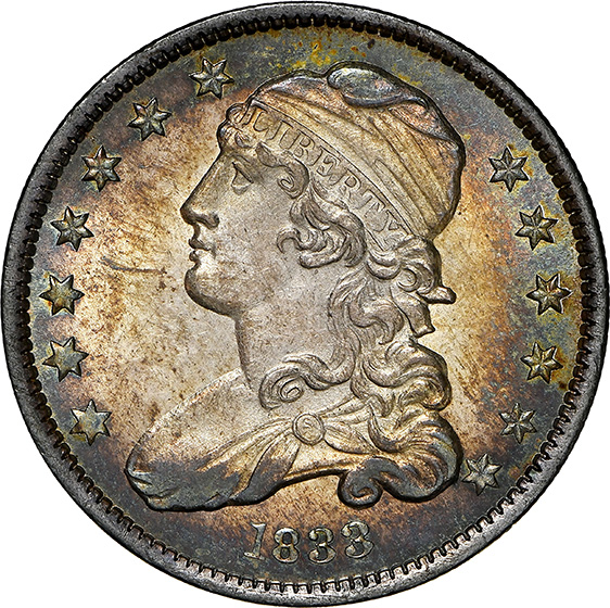 Picture of 1833 CAPPED BUST 25C MS65