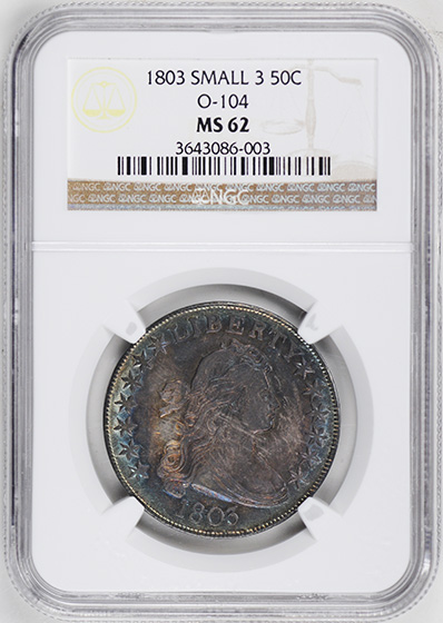 Picture of 1803 DRAPED BUST 50C, SMALL 3 MS62