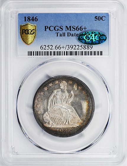 Picture of 1846 LIBERTY SEATED 50C, TALL DATE MS67