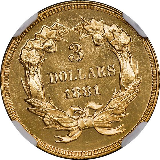 Picture of 1881 INDIAN PRINCESS $3 PR67 Deep Cameo