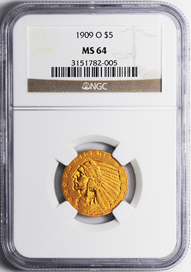 Picture of 1909-O INDIAN HEAD $5 MS64