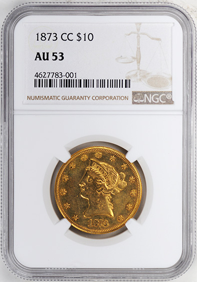 Picture of 1873-CC LIBERTY HEAD $10 AU53