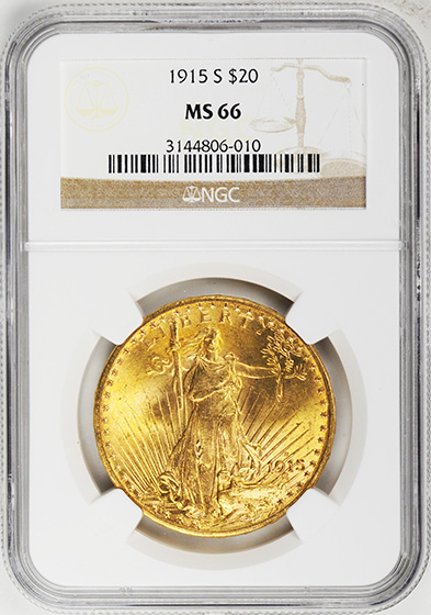 Picture of 1915-S ST. GAUDENS $20 MS66