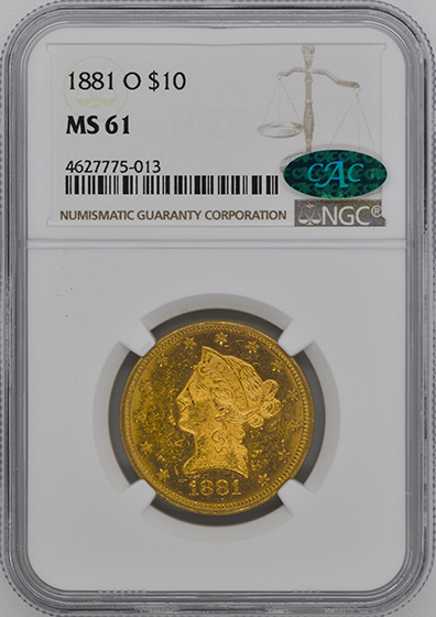 Picture of 1881-O LIBERTY HEAD $10 MS61
