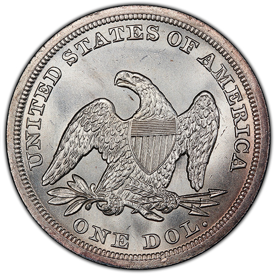 Picture of 1847 LIBERTY SEATED S$1, NO MOTTO MS65