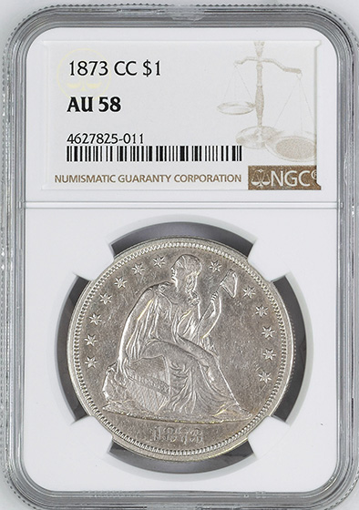 Picture of 1873-CC LIBERTY SEATED S$1, SEATED AU58