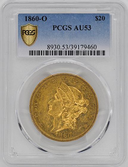 Picture of 1860-O LIBERTY HEAD $20 AU53