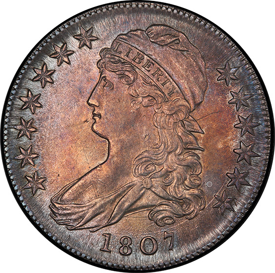 Picture of 1807 CAPPED BUST 50C, LARGE STARS 50/20 MS63