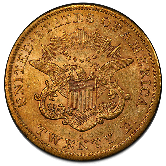 Picture of 1866-S LIBERTY HEAD $20, NO MOTTO AU58