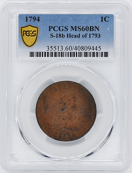 Picture of 1794 LIBERTY CAP 1C, HEAD OF 1793, DENT. BORDER MS61 Brown