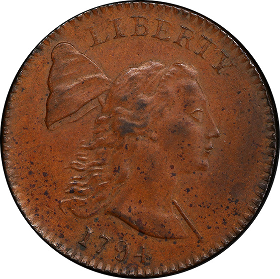Picture of 1794 LIBERTY CAP 1C, HEAD OF 1793, DENT. BORDER MS60 Brown