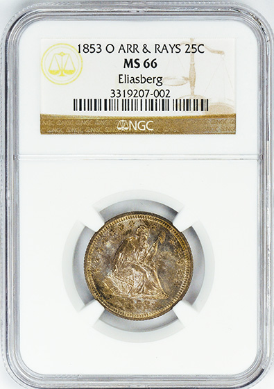 Picture of 1853-O LIBERTY SEATED 25C, ARROWS AND RAYS MS66
