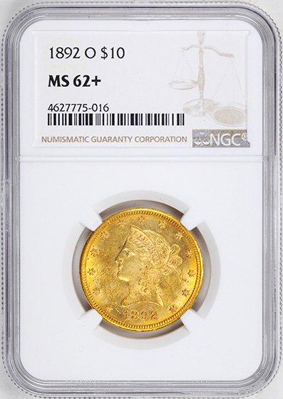 Picture of 1892-O LIBERTY HEAD $10 MS62+