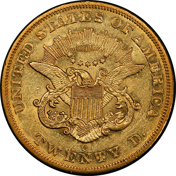 Picture of 1857-O LIBERTY HEAD $20 AU55