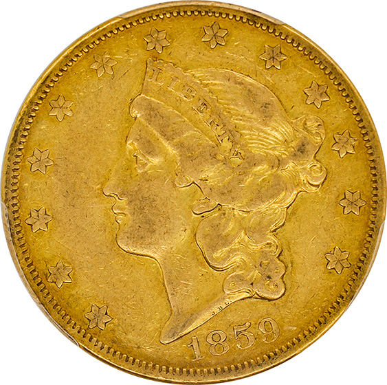 Picture of 1859-O LIBERTY HEAD $20 XF40