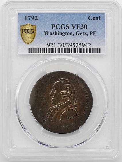 Picture of 1792 WASH GETZ, SM EAGLE CENT VF30 Brown