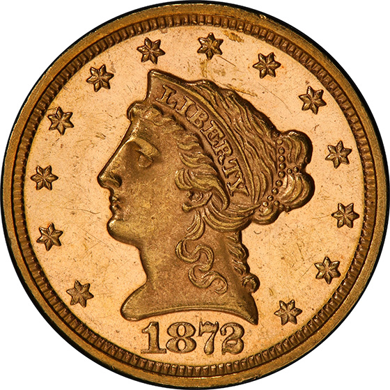 Picture of 1872 LIBERTY HEAD $2.5 MS63 Proof Like