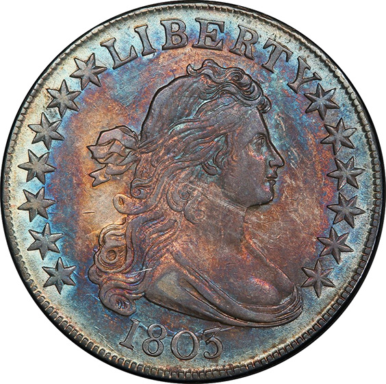 Picture of 1803 DRAPED BUST 50C, SMALL 3 MS62+