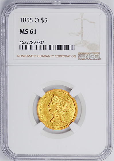 Picture of 1855-O LIBERTY $5 MS61