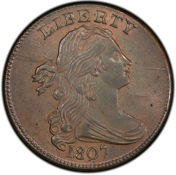 Picture of 1807 DRAPED BUST 1C, COMET MS65 Red Brown