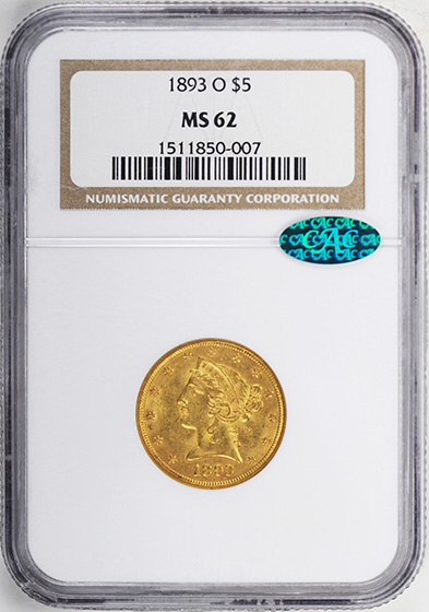 Picture of 1893-O LIBERTY $5 MS62