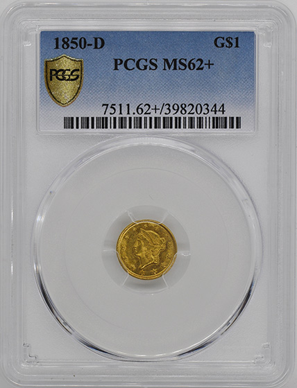 Picture of 1850-D GOLD G$1, TYPE 1 MS62+