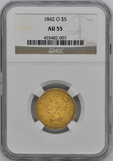 Picture of 1842-O LIBERTY $5 AU55