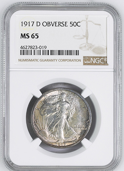 Picture of 1917-D WALKING LIBERTY 50C, OBVERSE MS65