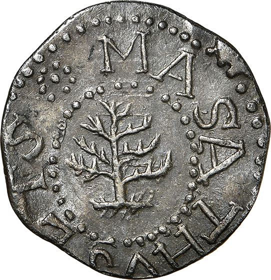 Picture of 1652 PINE TREE THREEPENCE, PELLETS AT TRUNK MS62