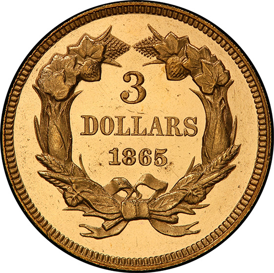 Picture of 1865 INDIAN PRINCESS $3 PR65 Cameo