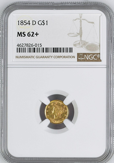 Picture of 1854-D GOLD G$1, TYPE 1 MS62+