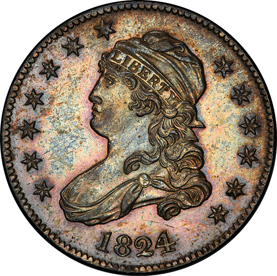 Picture of 1824/2 CAPPED BUST 25C MS62