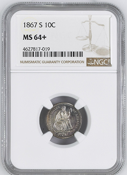Picture of 1867-S LIBERTY SEATED 10C MS64+