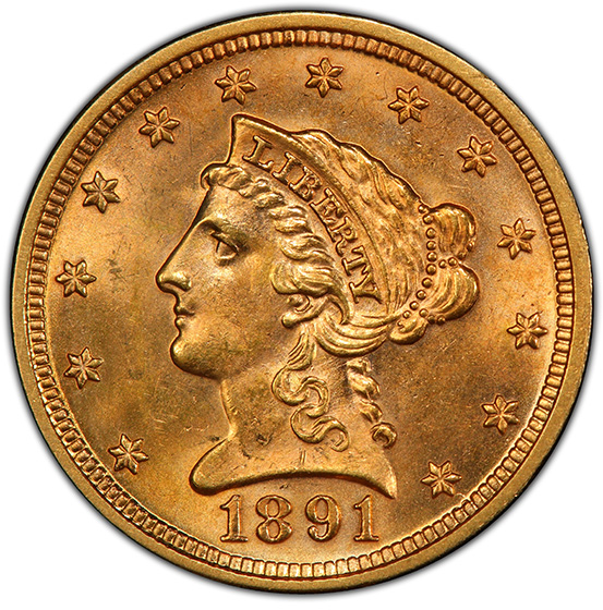 Picture of 1891 LIBERTY HEAD $2.5 MS65