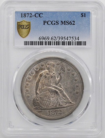Picture of 1872-CC LIBERTY SEATED S$1, MOTTO MS62