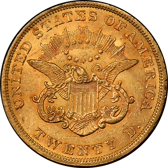 Picture of 1854 LIBERTY HEAD $20, SMALL DATE MS62