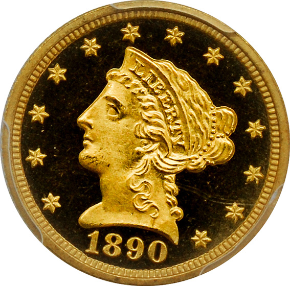 Picture of 1890 LIBERTY HEAD $2.5 PR65+ Deep Cameo
