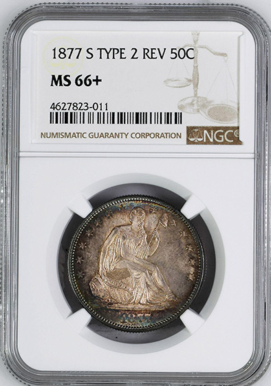 Picture of 1877-S LIBERTY SEATED 50C, MOTTO MS66+